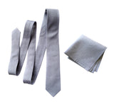 Light grey linen necktie, pocket square, Cyberoptix. Woodward gray linen silk blend woven tie and square