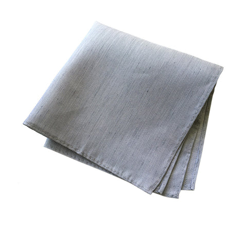 Light Gray Linen Pocket Square. Silver Solid Color, Woodward