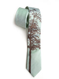 Mountain Aspen linen necktie, by Cyberoptix. Mint green and chocolate brown.