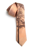 Mountain Aspen linen necktie, by Cyberoptix. Penny copper and chocolate brown.
