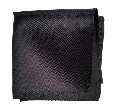 Black Herringbone Silk Pocket Square