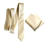 cream woven herringbone silk wedding necktie & pocket square set, by Cyberoptix