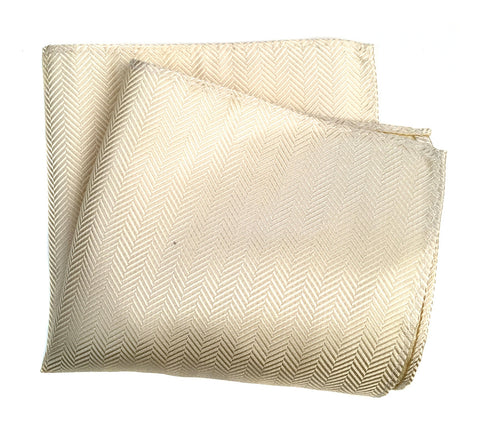 Cream Herringbone Silk Pocket Square