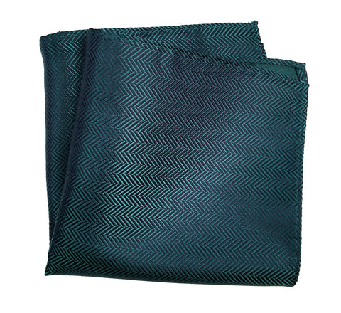 Dark Teal Herringbone Silk Pocket Square