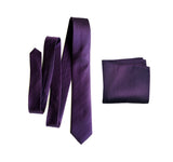Solid Color Eggplant Herringbone Silk Necktie and pocket Square Set, by Cyberoptix