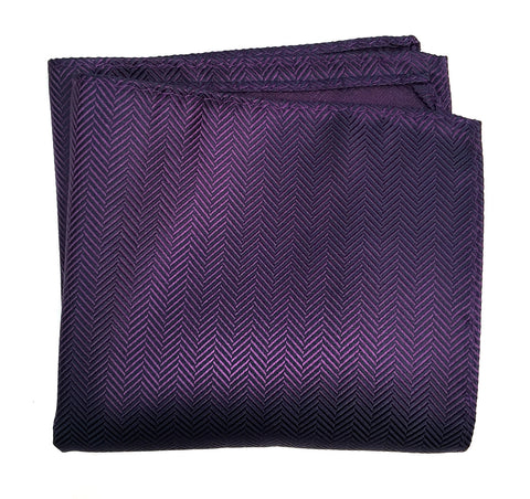 Eggplant Herringbone Silk Pocket Square