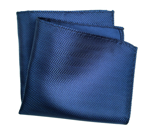 Sapphire Blue Herringbone Silk Pocket Square