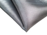Silver Pocket Square, Herringbone Silk. by Cyberoptix. Plain, solid color pocket silk