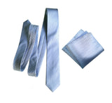 Cyberoptix powder blue wedding tie and pocket square set, woven herringbone silk necktie