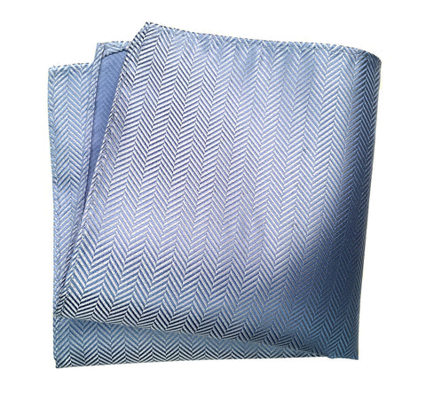 Powder Blue Herringbone Silk Pocket Square