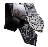 d20 neckties, black and silver.