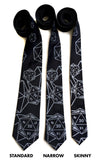 d20 neckties: wide, narrow and skinny sizes