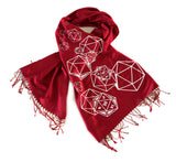 Ruby red d20 scarf