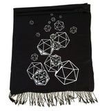 rpg dice inspired black d20 scarf