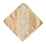 Damask pocket square: white on soft gold.