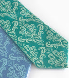 Damask neckties: light sky ink on sky blue, mint on aqua.