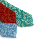 Damask neckties: Rust on red, light sky ink on sky blue, mint on aqua.