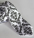 Black and white damask necktie