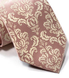Damask necktie. Ivory-cream on peach.