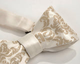 Damask print bow tie, by Cyberoptix. Warm cream on cream bow tie.
