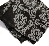 Damask pocket square: dove grey on black.