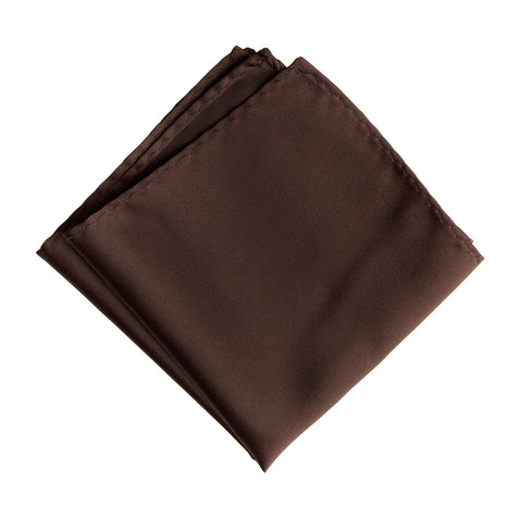 Dark Brown Pocket Square. Solid Color Satin Finish, No Print