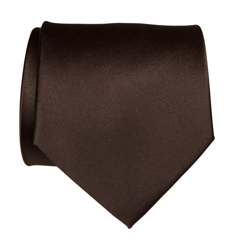 Dark Brown Necktie. Solid Color Satin Finish Tie, No Print