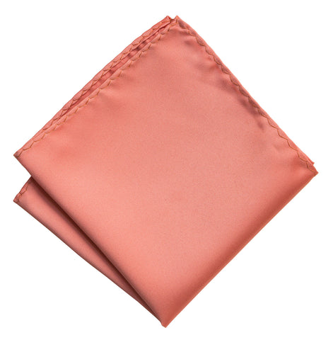 Dark Salmon Pocket Square. Medium Pink Solid Color Satin Finish, No Print