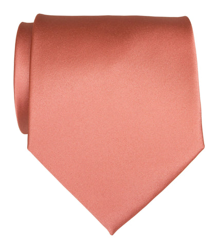 Dark Salmon Necktie. Medium Pink Solid Color Satin Finish Tie, No Print