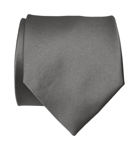 Dark Silver Necktie. Solid Color Medium Grey Satin Finish Tie, No Print