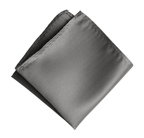 Dark Silver Pocket Square. Solid Color Medium Grey Satin Finish, No Print
