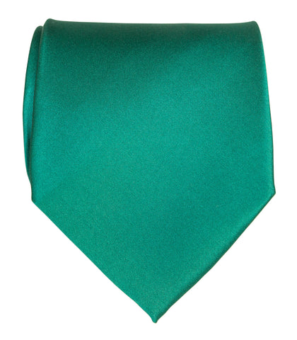Dark Teal Green Necktie. Solid Color Satin Finish Tie, No Print
