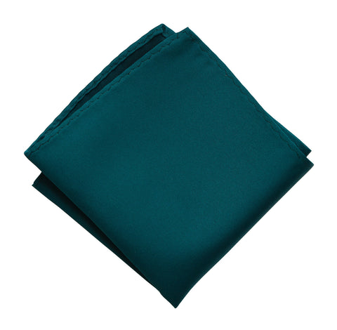 Dark Teal Pocket Square. Dark Blue Solid Color Satin Finish, No Print