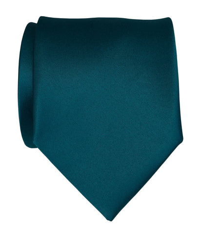 Dark Teal Necktie. Dark Blue Solid Color Satin Finish Tie, No Print
