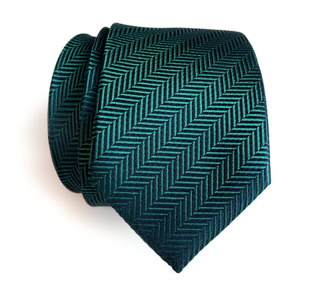 Dark Teal Herringbone Silk Necktie