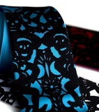 Papel Picado Tie. Black on turquoise.