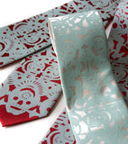 Custom wedding set: Aqua ink on narrow ivory and crimson.