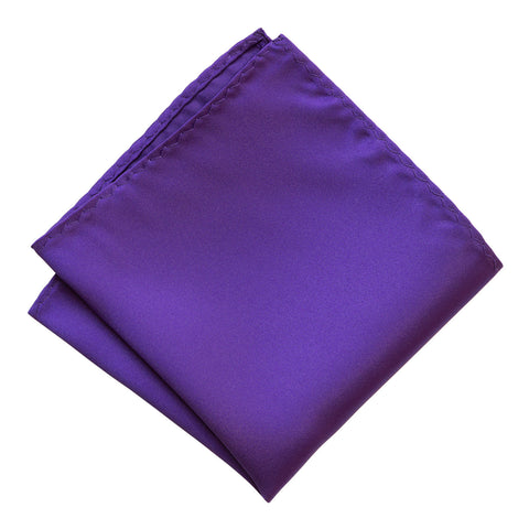 Deep Purple Pocket Square. Solid Color Satin Finish, No Print
