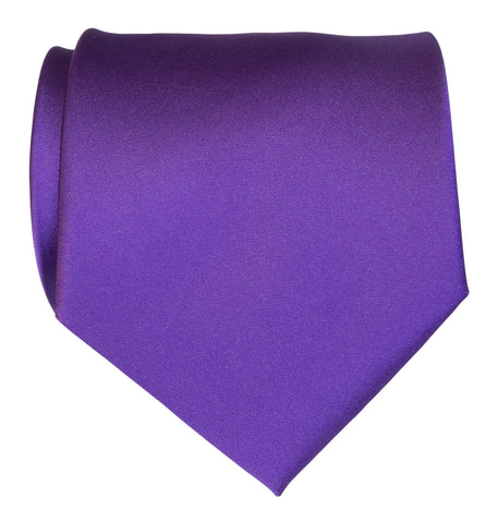 Deep Purple Necktie. Solid Color Satin Finish Tie, No Print