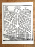 Detroit Map Art Print, 1831 City Plan