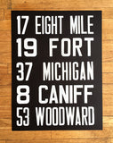 Detroit Bus Roll Sign Poster Art Print, hand printed by cyberoptix