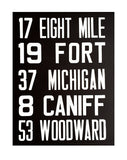 Black and white Detroit Bus Scroll Sign, Poster Art Print
