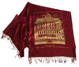Red and gold Detroit Opera House & JL Hudson's pashmina scarf, by Cyberoptix