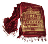 Detroit Opera House & Hudson's linen-weave pashmina scarf, by Cyberoptix. Ruby and gold