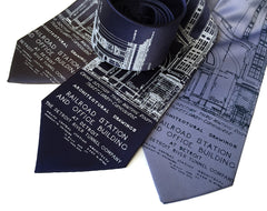 Blueprint Necktie: Detroit Train Station
