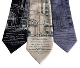 Historic Detroit Train Station Blueprint Neckties, by Cyberoptix