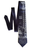 Navy Blue Detroit Train Station Blueprint Tie, by Cyberoptix