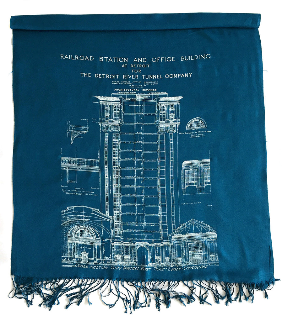 Blueprint scarf detroit train station linen weave pashmina teal blue and white blueprint scarf detroit train station malvernweather Image collections