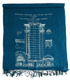 Teal Blue and White Blueprint Scarf: Detroit Train Station