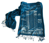 Teal Blue Blueprint Scarf: MCS Train Station, by Cyberoptix